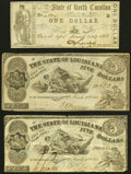 Obsoletes By State:Louisiana, Shreveport, LA- State of Louisiana $5 Mar. 10, 1863, Two Examples Fine or Better;. Raleigh, NC- State of North Carolin... (Total: 3 notes)
