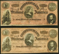 Confederate Notes:1864 Issues, T65 $100 1864 PF-1 Cr. 490 and PF-3 Cr. 494 Very Fine or Better.. ... (Total: 2 notes)