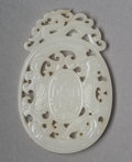Carvings, A Chinese Pierced White Jade Plaque, Qing Dynasty. 1/4 x 1-1/2 inches (0.6 x 3.8 cm). ...