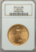 Saint-Gaudens Double Eagles, 1911-D/D $20 FS-501 MS63 NGC. Housed in a circa-2000 holder. NGC Census: (49/267). PCGS Population: (25/323). MS63....