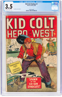 Kid Colt Outlaw #1 (Atlas/Marvel, 1948) CGC VG- 3.5 Off-white to white pages