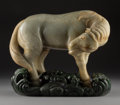 Sculpture, A Chinese Carved Jade Horse with Spinach Jade Stand . 8 x 11 x 4-1/4 inches (20.3 x 27.9 x 10.8 cm). PROPERTY FROM A BEVER...