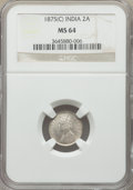 India:British India, India: British India. Victoria 3-Piece Lot of Certified 2 Annas NGC,... (Total: 3 coins)