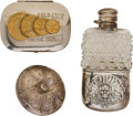 Advertising:Tobacciana, Three Fine Western Style Collectibles: Indian Motif flask, Gambling Top and Gold Coin Tobacco Tin.... (Total: 4 Items)