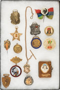 Advertising:Pocket Mirrors & Pinbacks, American Indian Souvenir Novelties: Group of 14 Fobs and Pinbacks....