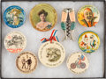Advertising:Small Novelties, Group Lot of Carnival and Event Badges, Including a Pocket Mirror & Cork Screw....