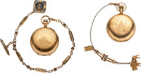 Pair of Gold Filled Western Themed Watches, Chains & Fobs