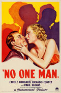 "Movie Posters:Drama, No One Man (Paramount, 1932). Very Fine- on Linen. One Sheet (27"" X41"") Style A.. ..."