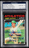 Autographs:Sports Cards, Signed 1971 Topps #20 Reggie Jackson, PSA/DNA Gem Mint 10 with Three Inscriptions....