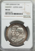 German States:Saxony, German States: Saxony. Friedrich August III 5 Mark 1909 MS64 NGC,...