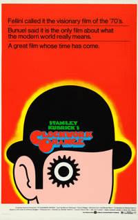 "A Clockwork Orange (Warner Brothers, 1973). Rolled, Very Fine+. One Sheet (25.75"" X 41""). First Printing/Silk..."