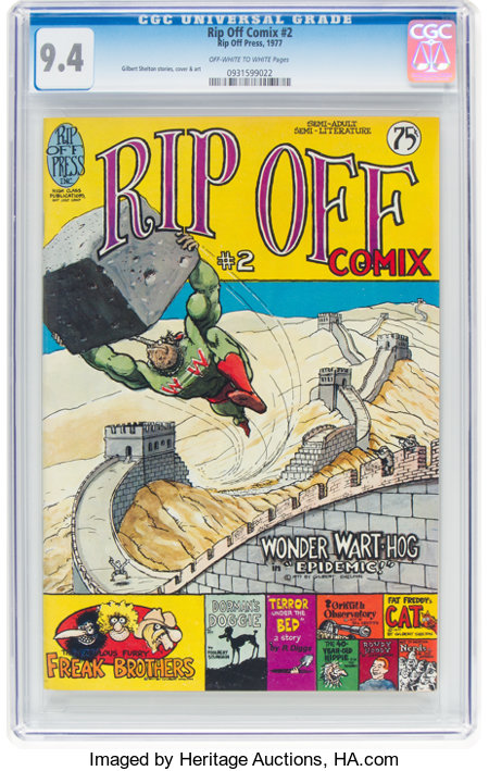 Rip Off Comix #2 (Rip Off Press, 1977) CGC NM 9.4 Off-white to white pages....