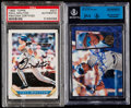 Autographs:Sports Cards, Signed 1993 Topps Paul Molitor & 1995 Select Bernie Williams Baseball Cards (2)....