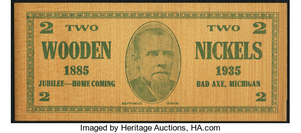Miscellaneous:Other, Bad Axe, MI - Two Wooden Nickels July 2, 1935.