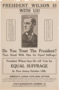 Political:Small Paper (1896-present), Woman's Suffrage: Graphic Woodrow Wilson Endorsement Handbill. ...