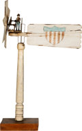 Antiques:Folk Art, Carved Wood Painted 19th Century Whirligig....