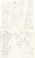 animation art:Model Sheet, The Flintstones Fred and Barney Model Sheet/Practice Drawings Group of 2 (Hanna-Barbera, c. 1960s).... (Total: 2 Original Art)