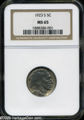 "Buffalo Nickels: , 1923-S 5C MS65 NGC. The current Coin Dealer Newsletter (Greysheet)wholesale ""bid"" price is $6000.00...."