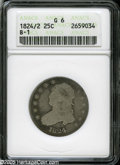 Bust Quarters: , 1824/2 25C Good6 ANACS B-1....