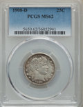 Barber Quarters: , 1908-D 25C MS62 PCGS. PCGS Population: (47/170). NGC Census:(34/102). MS62. Mintage 5,788,000. ...