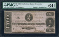 Confederate Notes:1863 Issues, T61 $2 1863 PF-7 Cr. 473 PMG Choice Uncirculated 64 EPQ.. ...