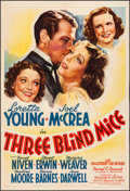 "Movie Posters:Comedy, Three Blind Mice (20th Century Fox, 1938). Fine/Very Fine on Linen. One Sheet (27.5"" X 40.5"") Style A. Comedy. From the Co..."