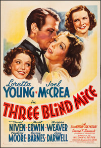 "Three Blind Mice (20th Century Fox, 1938). Fine/Very Fine on Linen. One Sheet (27.5"" X 40.5"") Style A. Comedy..."
