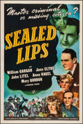 "Movie Posters:Film Noir, Sealed Lips (Universal, 1941). Fine/Very Fine on Linen. One Sheet(27"" X 41""). Film Noir. From the Collection of F..."