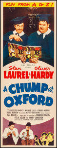 """Movie Posters:Comedy, A Chump at Oxford (Favorite Films, R-1946). Folded, Fine. Insert(14"""" X 36""""). Comedy. From the Collection of Frank Buxton,..."""