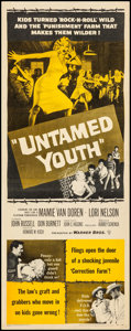 """Movie Posters:Exploitation, Untamed Youth (Warner Brothers, 1957). Rolled, Fine/Very Fine.Insert (14"""" X 36""""). Exploitation.. ..."""