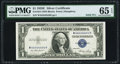 Small Size:Silver Certificates, Solid 4 Serial Fr. 1614 $1 1935E Silver Certificate. PMG Gem Uncirculated 65 EPQ.. ...