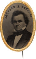 Political:Ferrotypes / Photo Badges (pre-1896), Stephen A. Douglas: Pristine Large Oval Ferrotype Brooch....