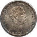 Coins of Hawaii , 1883 25C Hawaii Quarter MS66 PCGS Secure. CAC. PCGS Population:(122/22 and 8/3+). NGC Census: (118/6 and 0/0+). Mintage 2...