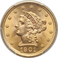1901 $2 1/2 MS66 PCGS Secure. PCGS Population: (130/26 and 6/0+). NGC Census: (112/22 and 2/0+). MS66. Mintage 91,100...