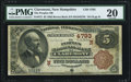 National Bank Notes:New Hampshire, Claremont, NH - $5 1882 Brown Back Fr. 472 The Peoples NB Ch. #(N)4793 PMG Very Fine 20.. ...