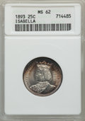 Commemorative Silver, 1893 25C Isabella Quarter MS62 ANACS. NGC Census: (570/2416). PCGS Population: (931/3433). MS62. Mintage 24,214. ...