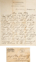 """Miscellaneous:Ephemera, Old West Letter from Prescott's """"Whiskey Row"""" with Apache Content...."""