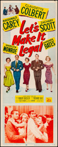 """Movie Posters:Comedy, Let's Make It Legal (20th Century Fox, 1951). Folded, Fine/VeryFine. Insert (14"""" X 36""""). Comedy.. ..."""