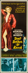 "Movie Posters:Film Noir, Don't Bother to Knock (20th Century Fox, 1952). Folded, Fine/VeryFine. Insert (14"" X 36""). Film Noir.. ..."