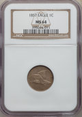 1857 1C MS64 NGC. NGC Census: (922/233). PCGS Population: (1163/314). MS64. Mintage 17,450,000