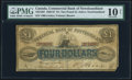 Canadian Currency, St. John's, NF- Commercial Bank of Newfoundland $4 / 1 Pound 1.1.1867 Ch.# 185-12-02 PMG Very Good 10 Net.. ...