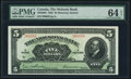 Canadian Currency, Montreal, PQ- Molsons Bank $5 3.7.1922 Ch.# 490-40-02 PMG Choice Uncirculated 64 EPQ.. ...