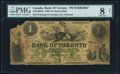 """Canadian Currency, Toronto, ON- Bank of Toronto $1 2.7.1859 Ch.# 715-14-02a5""""Peterboro"""" Overprint PMG Very Good 8 Net.. ....."""