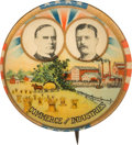 """Political:Pinback Buttons (1896-present), McKinley & Roosevelt: """"Commerce and Industries"""" Jugate...."""