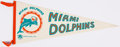 Football Collectibles:Photos, Circa 1960s Miami Dolphins Pennant....