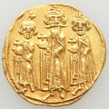 Ancients:Byzantine, Ancients: Heraclius (AD 610-641), with Heraclius Constantine andHeraclonas as Caesar. AV solidus (21mm, 4.36 gm, 7h)....