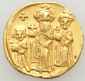 Ancients:Byzantine, Ancients: Heraclius (AD 610-641), with Heraclius Constantine andHeraclonas. AV solidus (20mm, 4.36 gm, 5h). VF, marks, clipped....