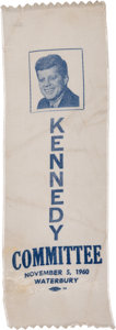 Political:Ribbons & Badges, John F. Kennedy: 1960 Connecticut Picture Ribbon....