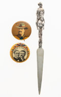 Political:Pinback Buttons (1896-present), McKinley & Roosevelt: Three Campaign Items....