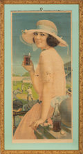Advertising:Paper Items, 1922 Calendar Top Coca Cola Girl at Baseball Game....